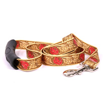 Leather Rose Red EZ-Grip Fabric Dog Leash
