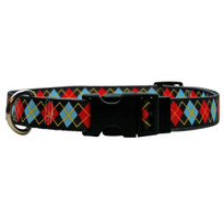 Red Argyle Dog Collar with Tag-A-Long