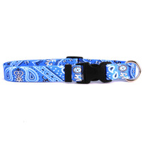 Bandana Blue Dog Collar with Tag-A-Long
