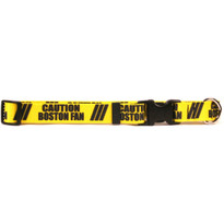 1 Inch - Caution Boston Fan Dog Collar with Tag-A-Long