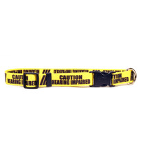 1 Inch - Caution Hearing Imparied Dog Collar with Tag-A-Long