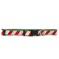 Peppermint Stick on Kelly Green Grosgrain Ribbon Collar