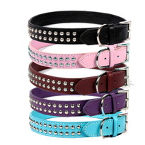 Rivet Studded Leather Dog Collar