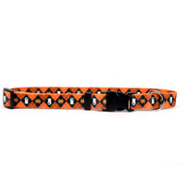 Orange Argyle Halloween Dog Collar with Tag-A-Long