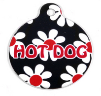 Black Daisy HD Pet ID Tag