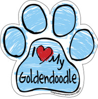 I Love My Goldendoodle BLUE Scribble Paw Magnet