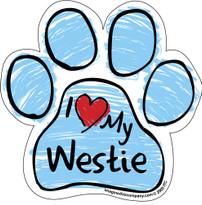 I Love My Westie BLUE Scribble Paw Magnet