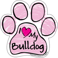 I Love My Bulldog PINK Scribble Paw Magnet
