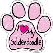 I Love My Goldendoodle PINK Scribble Paw Magnet