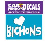 Love Bichons Car Window Decals