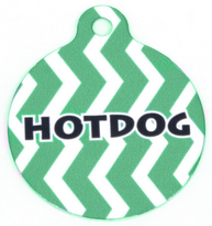 Lime Chevron Stripe HD Pet ID Tag