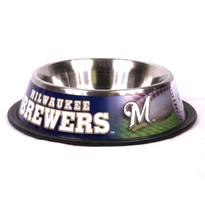 Milwaukee Brewers Stainless Steel MLB Dog Bowl