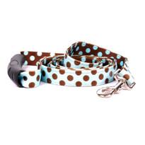 Blue and Brown Polka Dot Uptown Dog Leash