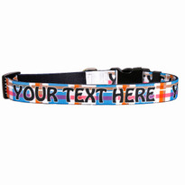 Personalized Madras Blue Plaid Dog Collar