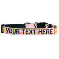 Personalized Madras Pink Plaid Dog Collar