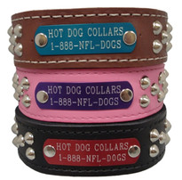 2 Inch Wide SmoothStud Name Plate Leather Dog Collar