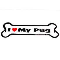 I Love My Pug Bone Magnet