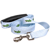 Southern Dawg Seersucker Blue with Alligators Premium Dog Leash