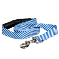 Southern Dawg Seersucker Navy Blue Premium Dog Leash