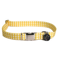 Southern Dawg Gingham Yellow Premium Dog Collar