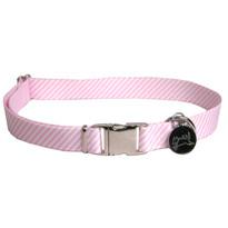 Southern Dawg Seersucker Pink Premium Dog Collar