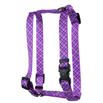 Purple and Pink Diagonal Plaid Roman Style H Dog Harness