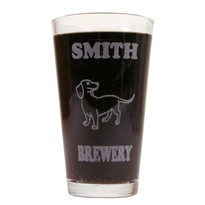 Personalized Pint Glass Beer Mug - Dachshund