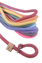 Braided Rope Checkerboard Slip Leash For Dogs With Leather Stop