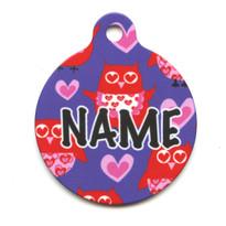 Valentines Owls HD Pet ID Tag