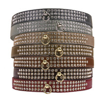 Color Leather 3-Row Crystal Dog Collar