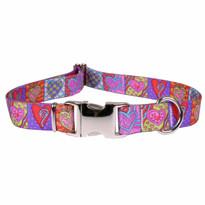 Crazy Hearts Premium Metal Buckle Dog Collar
