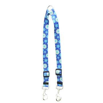 Teal Flowers Coupler Dog Leash