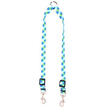 Blue and Green Argyle Coupler Dog Leash