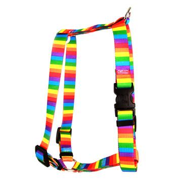"Rainbow Stripes Roman Style ""H"" Dog Harness"