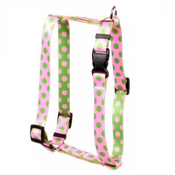 "Pink and Green Polka Dot Roman Style ""H"" Dog Harness"