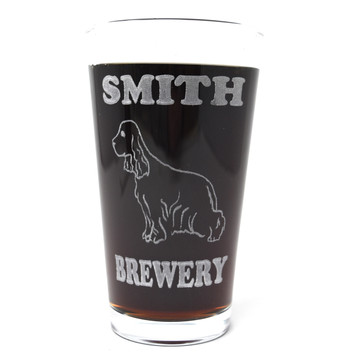 Personalized Pint Glass Beer Mug - Cocker Spaniel