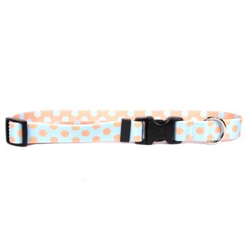 Blue and Melon Polka Dot Dog Collar