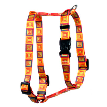 "Orange Blocks Roman Style ""H"" Dog Harness"