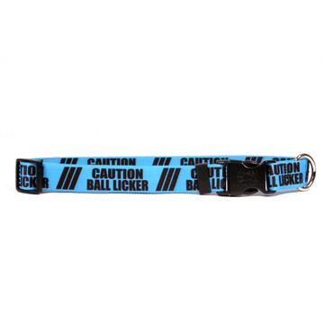 1 Inch - Caution Ball Licker Dog Collar