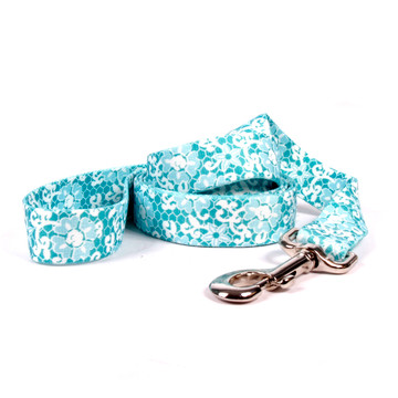 Teal Lace Flowers Dog Leash