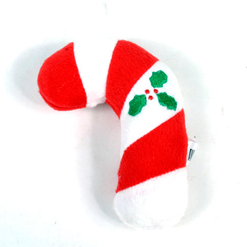 Candy Cane Plush Squeaker Dog Toy