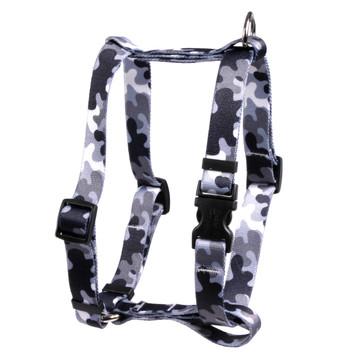 "Black and White Camo Roman Style ""H"" Dog Harness"