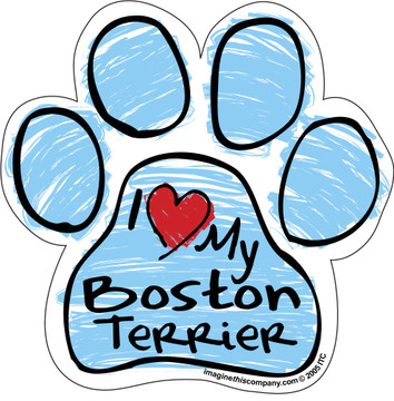 I Love My Boston Terrier BLUE Scribble Paw Magnet