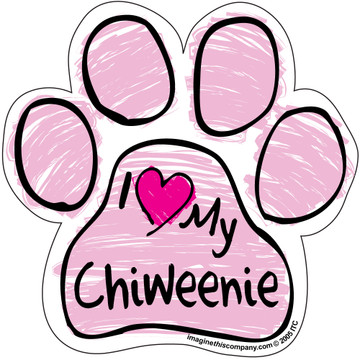 I Love My Chiweenie PINK Scribble Paw Magnet