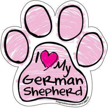 I Love My German Shepherd PINK Scribble Paw Magnet