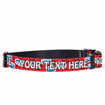 Personalized Geometric Red Dog Collar