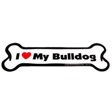 I Love My Bulldog Bone Magnet