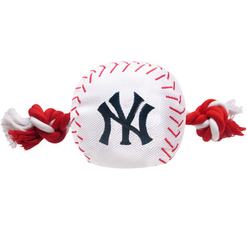 New York Yankees Nylon Rope Baseball Squeaker  Dog Toy