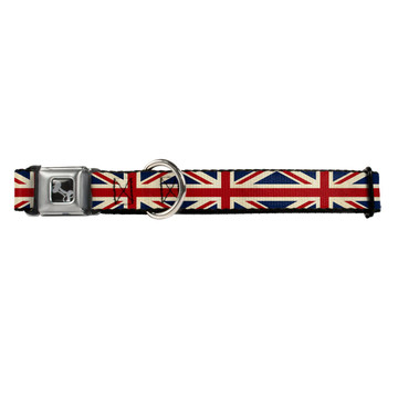 Vintage United Kingdom Flag Buckle-Down Seat Belt Buckle Dog Collar
