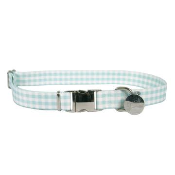 Southern Dawg Gingham Mint Premium Dog Collar
